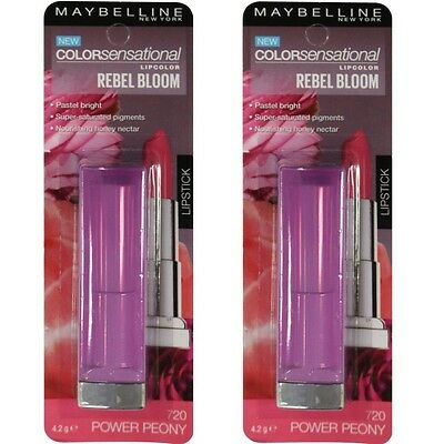 2 x MAYBELLINE Colorsensational Rebel Bloom LIPCOLOR 720 POWER PEONY Brand New