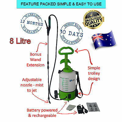 Rechargeable Weed Sprayer 8L Trolley Battery Farm Garden Pest Control Electric