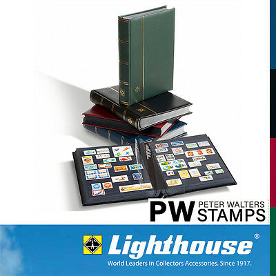 Lighthouse PREMIUM Stockbook 32 Black Pages with Slipcase - Red Cover