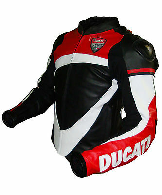 New Handmade Ducati Motorcycle Leather Jacket Black,Red & White