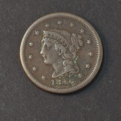1846 Liberty Head Braided Hair Large Cent Penny F Small Date