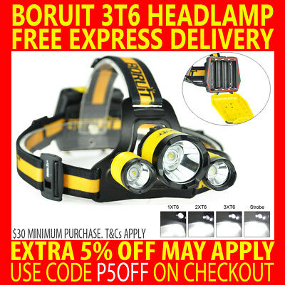 Genuine 13000Lm Boruit B17 Cree 3T6 3 T6 Led Headlamp Headlight Sos Torch Lamp