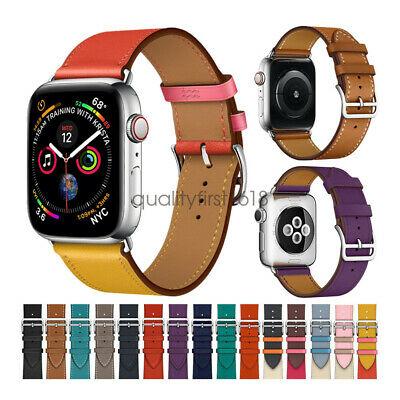 Cuero Genuino Correa de Reloj banda Strap para Apple Watch Series 4 3 44mm 42mm