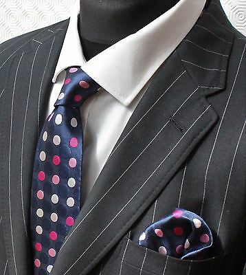 Tie Neck tie with Handkerchief Blue with Pink & White Spots