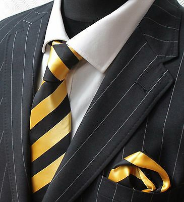 Tie Neck tie with Handkerchief Yellow with Black Stripe