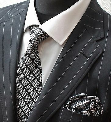 Tie Neck tie with Handkerchief Black with Check Squares