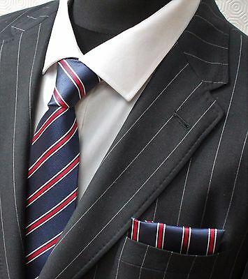 Tie Neck tie with Handkerchief Blue with thin Red & White Stripe