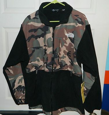 North Face (4) Pocket Camo & Black Fleece Jacket Extra Large New Never Worn
