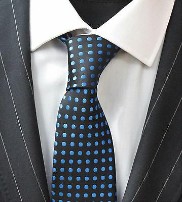 Tie Neck tie with Handkerchief Black with Electric Blue Spot