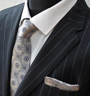 Tie Neck tie with Handkerchief Gold & Grey