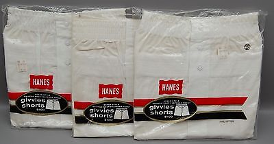 3 Pair Vintage 1960's or 70s Hanes Underwear Givvies Shorts  Boxers Size 40 NOS