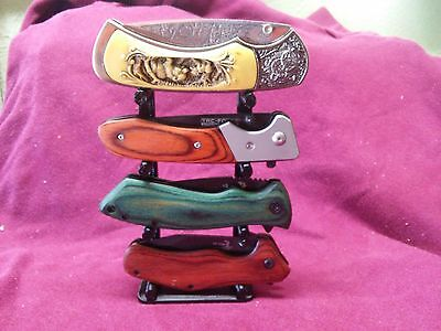 "Knife Display Stand For Pocket Knives 3"" Wide Knife Rack"