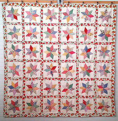 Vintage 30's Country Home Antique 36 STARS Quilt Applique FEEDSACK FABRICS WOW !