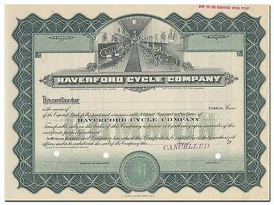 Haverford Cycle Company Specimen Stock Certificate - RARE - Black Beauty Bikes
