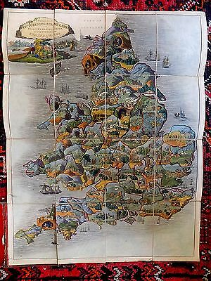 1850 Wallis Picturesque Game Antique Map England Wales Passmore Old Manufactures