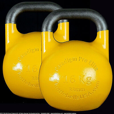 16 kg Paradigm Pro ELITE 33mm Handle Competition Kettlebell Pair *FREE SHIPPING*