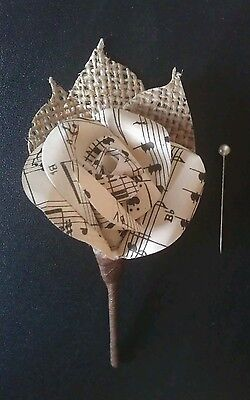 Paper rose coursage buttonhole flower vintage music sheet Hessian rustic Wedding