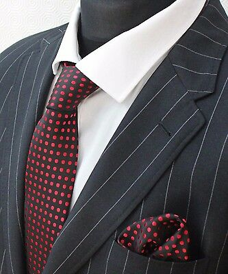 Tie Neck tie with Handkerchief Black with Red Spot