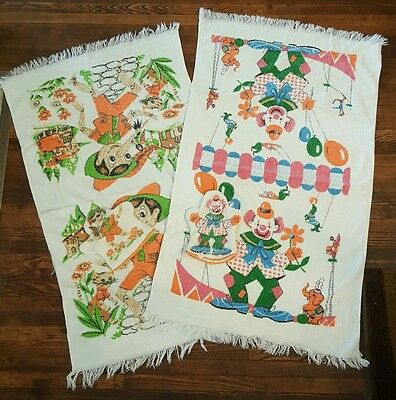 Lot Vintage Childs Bath Towels Mitten Mitt Wash Cloths Clown Pinocchio Cannon