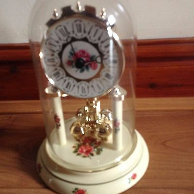 Glass Dome clock running rose/cream possibly an anniversary clock Maybe vintage