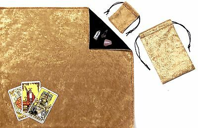 Gold Velvet Lined Tarot Cloth & Bags or Pouch 3-piece Divination Gift Set