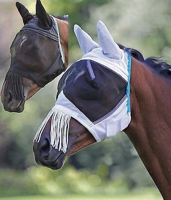 Shires Fine Mesh Fly Mask Ears & Nose Fringe 6653T SPony, Pony, Cob, Full, XFull