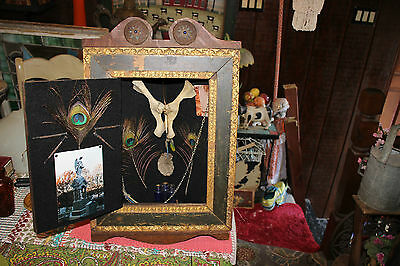 Antique Voodoo Black Magic Gilded Wood Medicine Cabinet Corner Shelf Shrine