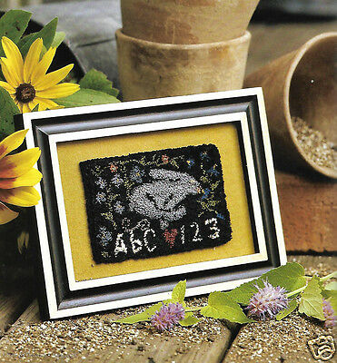 Primitive Easter Bunny Rabbit ABC 123 Sampler Punch Needle Embroidery PATTERN
