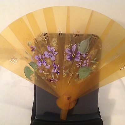 Vintage small celluloid fan hand painted flowers ca.1930's