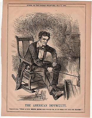 """1861 Orig. ABRAHAM LINCOLN SLAVERY CARTOON """"The American Difficulty"""" from Punch"""