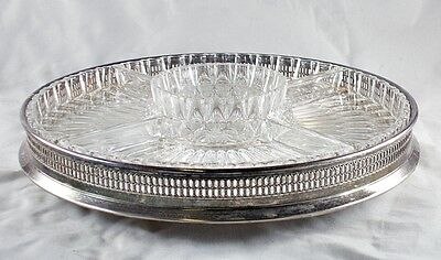 Vintage I.F.S. Silver Plated Lazy Susan w/Glass Inserts - Israel Freeman & Son
