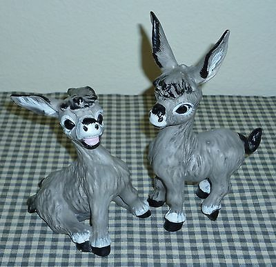 "Vintage KELVIN""S TREASURES pottery DONKEY figurines PONCHO & PEDRO - LABELS"