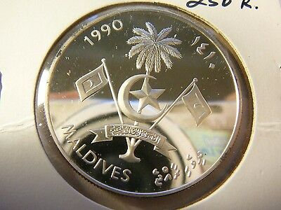 Maldives 1990 Silver Proof 250 Rufiyaa Crown Coin