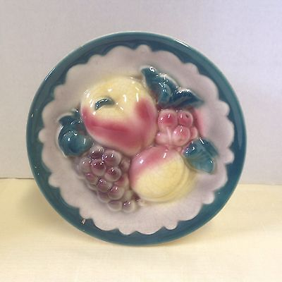 Vintage Ceramic Wall Pocket Fruit Royal Copley Signed Apple Grapes Peach Cherry