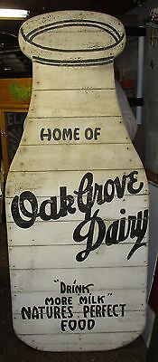 Oak Grove Dairy WOOD Outdoor TRADE SIGN Primitive Folk Art Clintonville WI