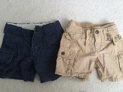 Baby Boy/Toddler Baby Gap Navy Blue/Tan Cargo Shorts-100% Cotton-12-18 Months