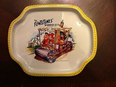 1960-70s Era Custer,South Dakota The Flintstones Bedrock City metal tray-VINTAGE