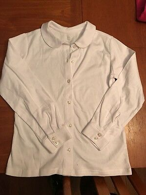 Girls -LANDS END-School Uniform Long  Sleeve Rounded Collar White Polo S 7 8