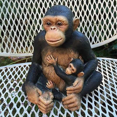 large Vintage Mother Chimpanzee with Baby sitting lifelike Figurine marked Rare