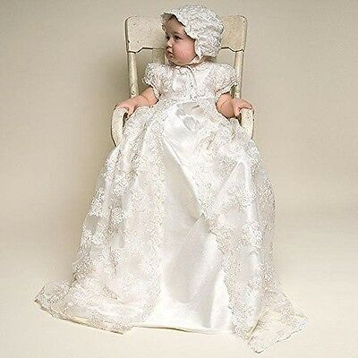 Baby Girl Christening Gown Formal Baptism Dress White Lace Bonnet Size 12 Months