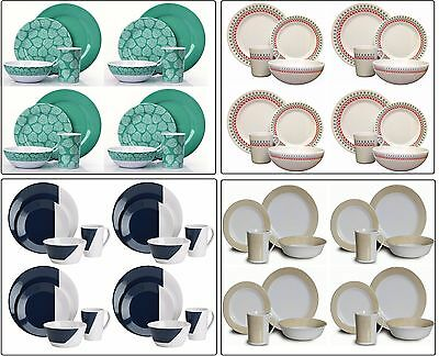 16pc Dinner Set Plates Bowls Cups BBQ Camping Fishing Picnic Outdoor Dining Set