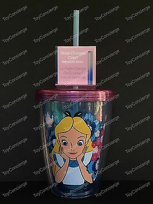 DISNEY Store TUMBLER Color CHANGING Straw ALICE IN WONDERLAND 2017 Plastic NEW