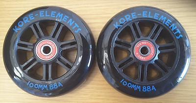 2 x KORE SCOOTER WHEELS RAZOR PRO MGP 100mm +RATED ABEC 9 BEARINGS FREE DELIVERY