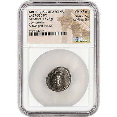 c. 457 - 350 BC Greece Isl. Of Aegina AR Stater Ancient Silver - NGC Ch XF* Star