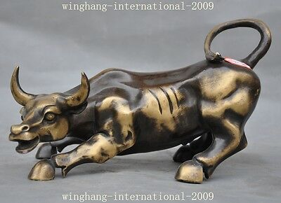 "6"" China Bronze Feng shui wealth Zodiac animal Bovine Ox Oxen Bull Animal Statue"