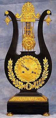French Mystery Ormolu Dore Bronze Ebonized Wood Lyre Clock by Jaquot