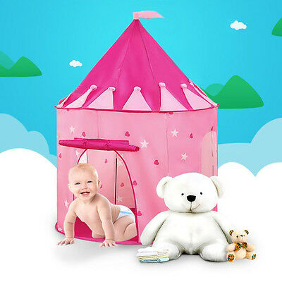 Portable Pink Pop Up Play Tent Kids Toddlers Girl Princess Castle Gaming House