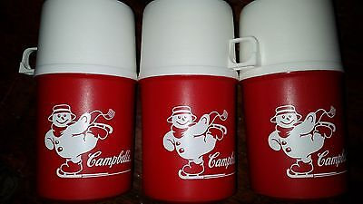 Vintage Campbell Skating Snowman Red Holiday Thermos (Lot of 3) New Old Stock
