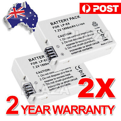 2X Brand New LPE8 LP-E8 Battery For EOS Canon550D 600D 650D 700D Twin Pack