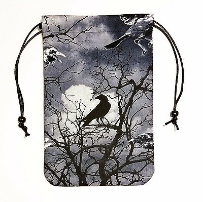 "Shadow Raven Tarot Bag or Pouch 5""x7"" Drawstring Dice Runes Crystals"